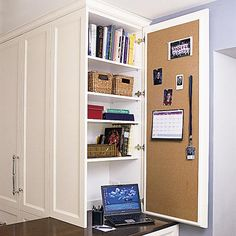 A built-in desk with bookcase and cabinets creates a seamless home office in a kitchen corner. Description from pinterest.com. I searched for this on bing.com/images