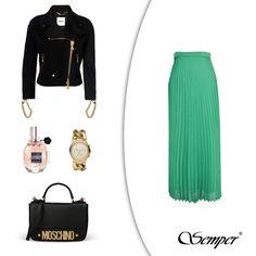 Masz w planach wieczorne wyjście i nie wiesz, co ubrać? SEMPER proponuje modną w tym sezonie plisowaną spódnicę, do której idealnie komponuje się skórzana ramoneska (MOSCHINO). Stylizację dopełnią czarna torebka (MOSCHINO) i złote dodatki (zegarek: Michael Kors). Jeszcze tylko Twoja ulubiona nuta zapachowa i można wychodzić! http://shop.semperfashion.eu/pl/p/Spodnica-plisowana-zielona/693 #fashion #clothes #stuff #semper #semperfashion #moda #modadamska #trends #inspirations #trendy…