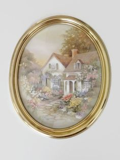 home interiors homco framed watercolor print cottage surrounded by flowers c1985