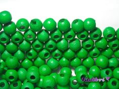 40x Round Wooden Beads 6 mm  Green by KolibriBeadSupplies on Etsy