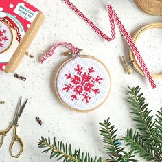 scandi christmas tree decorations, snowflake cross stitch kit