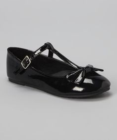 Look at this Chatties Black Bow T-Strap Flat on #zulily today!