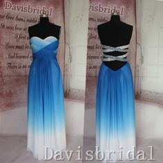 Open back royal blue ombre prom dress 2015,handmade long prom... (200 CAD) ❤ liked on Polyvore featuring dresses, long cocktail dresses, royal blue dress, long chiffon dress, blue prom dresses and chiffon bridesmaid dresses