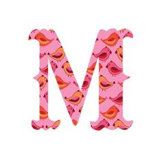 "WallCandy Arts Luv Letters ""M"" Wall Decal Style: Birds"