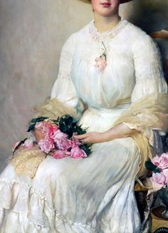 Lady with Roses by John Henry Frederick Bacon