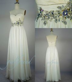 Custom Beach Sweetheart Floor-length Chiffon Applique Long Prom/Evening/Party/Homecoming/Bridesmaid/Cocktail/Formal Dress 2013 New Arrival Ivory Prom Dresses, Cheap Prom Dresses, Homecoming Dresses, Bridesmaid Dresses, Formal Dresses, Wedding Dresses, Bridal Gowns, Wedding Outfits, Long Dresses