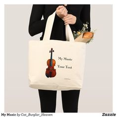 Shop My Music Large Tote Bag created by Cat_Burglar_Heaven. Cool Mugs, Text Me, Large Tote, You Bag, My Music, Bags, Handbags, Bag, Totes