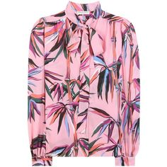 Emilio Pucci Printed Silk Blouse (62.000 RUB) ❤ liked on Polyvore featuring tops, blouses, pink, pink silk blouse, pink blouse, pink silk top, silk blouses and emilio pucci tops
