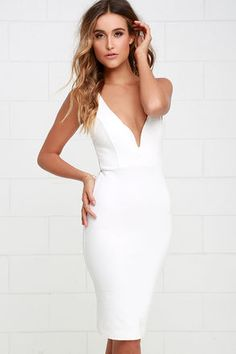 Bring out a sense of sophistication with the Gracefully Yours Ivory Dress! This thick stretch knit dress has a fitted bodice with a deep V neckline (and hidden V bar), plus a fitted midi length skirt for a look of style and elegance. Double straps on the back give this dress an open feel while princess seams at front give it an extra feminine touch. Hidden back zipper.