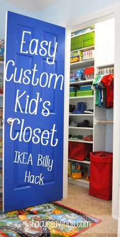Check Out The Easy Custom Kidu0027s Closet IKEA Billy Bookcase!