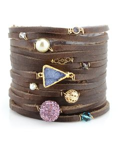 LoLo Jewels - Brown Leather and Jewels Charm Bracelet. fun.