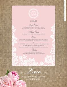 Menu Cards - Lace Wedding Collection - Design for Printed Menu Card with FREE SHIPPING