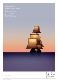 John Lewis Southampton print & outdoor advertising campaign using cheeses, lampshades and lipsticks to represent boats on the water. Clever Advertising, Advertising Poster, Advertising Design, Advertising Campaign, Web Design, Design Art, Graphic Design, Stand Design, Booth Design