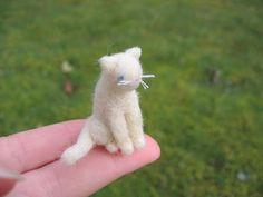 Tiny Miniature White Kitty Cat Needle Felted by LittleElfsToyshop, $15.00 #Etsy #Felted