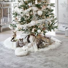 snow leopard faux fur tree skirt flocked christmas - White Christmas Tree Skirts