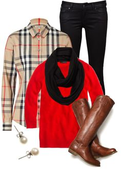 A fashion look from December 2012 featuring burberry top, red 3 4 sleeve top and slim fit skinny jeans. Browse and shop related looks. Camisa Burberry, Burberry Brit, Work Casual, Casual Fall, Casual Looks, Fall Fashion Week, Autumn Winter Fashion, Winter Style, Chic Outfits