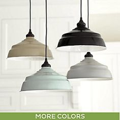"""BallardDesign.com  Lg Ind. Metal 13"""" Shade/Pendant w/recessed can-adaptor & cover plate in Spa...2 of these to hang down from ceiling to left & right of sink (40-46"""" apart). Also(3) 8"""" matching pendants to hang down over the island. These provide a sublte accent color to an otherwise all white kitchen."""