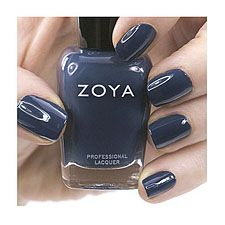 Zoya nail polish in Natty can be best described as: Smoky deep steel blue with an opaque cream finish.