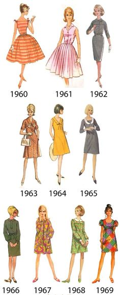 1960s dresses...look at the hemlines.