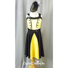 Yellow & Black Lycra Dress/booty Short - Swarovski Rhionestones - Size YL