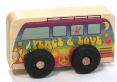 """Peace Van Scoot by Maple Landmark Woodcraft. $5.80. Measure about 2 1/2"""" tall and 4"""" long. and 1"""" thick.. Crafted in Vermont, USA from New England pine.. Bright colored graphics. Suitable for ages 2+. Durable non-toxic in over clear lacquer on body.. """"The Summer of Love!""""  This groovy peace and love van will take you places!  Perfect size for a play mat or simply carry in a toy bag.  Select from 18 different designs"""