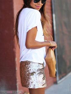 Gold sequined skirt dressed down with a Tshirt.