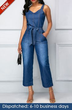 Belted Open Back Blue Pocket Denim Casual Jumpsuit, new arrival, free shipping worldwide, yes or no?, check it now.
