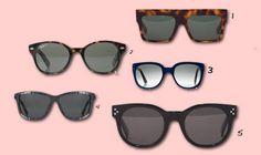 1. Céline, 2. Rayban round sunglasses (available at Net-a-Porter), 3. Selima Optique sunglasses (via Net-a-Porter), 4. Alexander Wang zipper sunglasses (via Net-a-Porter), 5. Céline