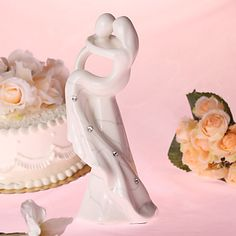 """Cary You Away"" Procelain Wedding Cake Topper with Rhinestone – USD $ 39.99"