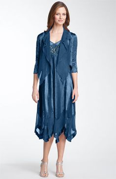Komarov Beaded Pleated Charmeuse Dress & Jacket (Regular & Petite) available at #Nordstrom  LOTS OF COLORS!