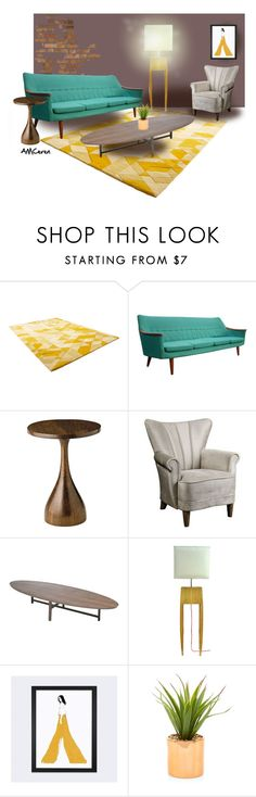 """Midcentury Diaries"" by amceren ❤ liked on Polyvore featuring interior, interiors, interior design, home, home decor, interior decorating, Cyan Design, Uttermost, Neri & Hu and iCanvas"