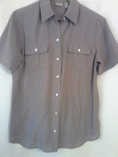 CHICO'S Blouse Size 1 Taupe Button up Short Sleeve Silky Modal Casual Career NEW #Chicos #Blouse #Career