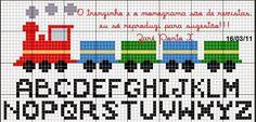 Cross Stitch Charts, Cross Stitch Patterns, Crochet Chart, Baby Knitting Patterns, Needlework, Letters, Train, Embroidery, Craft Ideas