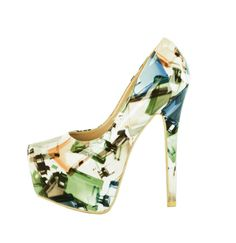 Pantofi Dama Multi Paint  -Pantofi piele lacuita  -Toc stiletto 15,5cm  -Platforma 6cm  -Detaliu varf ascutit Heeled Mules, Shoes, Fashion, Moda, Zapatos, Shoes Outlet, Fashion Styles, Shoe, Footwear