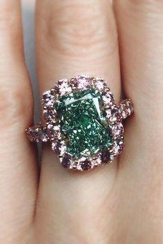 An extraordinary 5.03 Fancy vivid green diamond. Largest vivid green diamond that the GIA has ever certified.