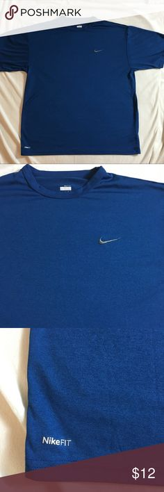 """Men's Nike Fit Dry workout shirt EUC Men's Nike Fit workout shirt in Indigo Blue. No rips or stains.  Size L  Measures 23"""" pit to pit. Sleeves are 9.5"""".  Length is 27""""  Check out my other listings to bundle and save on workout gear 🎉 Nike Shirts Tees - Short Sleeve"""