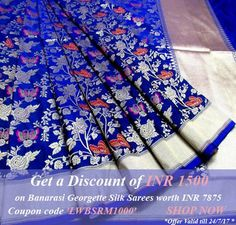 ·DISCOUNT  Get a discount of inr 1500 on purchase of Banarasi Georgette Silk saree worth inr 7865 click here : https://www.luxurionworld.com/products/search…Coupon code LWBSRM1000 , use while checkout      https://www.luxurionworld.com/products/saree/art-form-sarees/banarasi?filter=2-20,3-72&rangeamt=0-341250&fil_sort_select=new