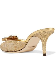 Dolce & Gabbana - Crystal-embellished Metallic Corded Lace Mules - Gold - IT36.5