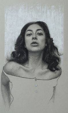 """Casey Childs """"Pillow Lips"""" - 17x11, charcoal on paper - at Principle Gallery"""