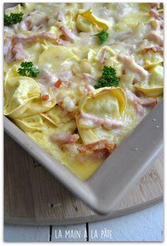 gratin de tortellinis aux lardons et au parmesan