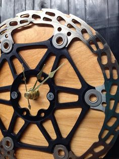 Recycled Bike Disc Rotor Clock