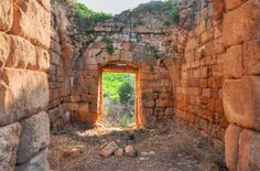 Crusader Banias- The entrance to the Crusader gatehouse (from inside). Crusader city gate tower in the center of the southern wall - The room of the gatehouse is 11m long by 7m wide & has a 7m high ceiling & 2m thick walls.