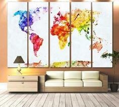 Watercolor World Map №705 Canvas Print