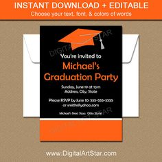 Black And White Graduation Invitation Printable College