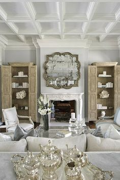 South Shore Decorating Blog: Manic Monday #7 Love the mirror, fireplace, and ceiling