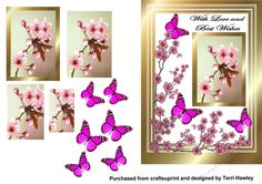 A really pretty 3D decoupage card front that can be used for many reasons. with its pink cherry blossoms and butterflies and the words With Love and Best wishes on, so it can be used for birthdays get well, and lots of other reasons.  Fits ant A5 envelope when finished.