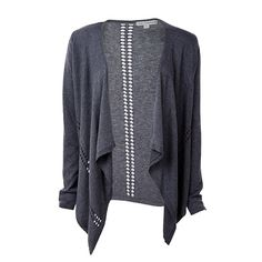 Pointelle Waterfall Cardigan - Greystone