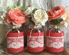 Navy burlap and lace covered 3 mason jar vases by PinKyJubb