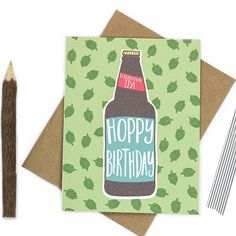 A special brew of Celebration IPA - Hoppy birthday! Perfect for beer lovers. :)  • Card size is 4.25 x 5.5 inches • Blank inside for your personal message (we print custom messages - leave a note to seller at checkout with your message.) • Printed on premium recycled card stock and includes an envelope color of your choice. • Each card is protected with a sleeve for safe keeping.  ☛ GET 15% OFF! Get a coupon code e-mailed to you instantly when you sign up for our e-mail list at: http:/&#...