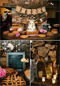 rustic fireplace dessert display http://www.weddingchicks.com/2013/09/23/rustic-pink-wedding-2/